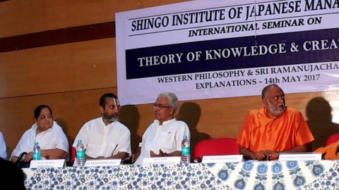 Seminar on Theory of Knowledge and Acharya Ramanuja held at M/s.Shingo Institute of Management along with Swami Sukhbodananda and Sri Krishnadas Nair, Chairman-HAL