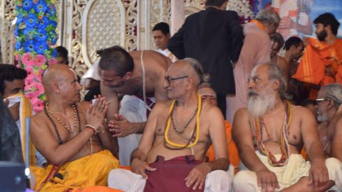 With Vidhyabhaskar U.Ve. Sri Vasudevachariar Swami and Araiyar Sri.U.Ve.Sriramasharma Swami at the Maha Yagna held at Bihar