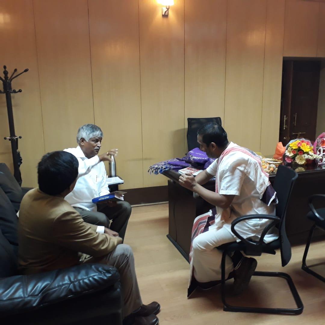 With Mandya New Minister Sri CS Puttaraju and IAS officer Sri Dayashankar at the Ministers office